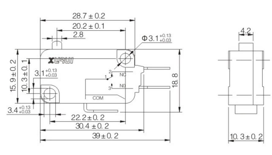 10pz microswitch microinterruttore pulsante micro switch 250v 16a no nc att 4 8