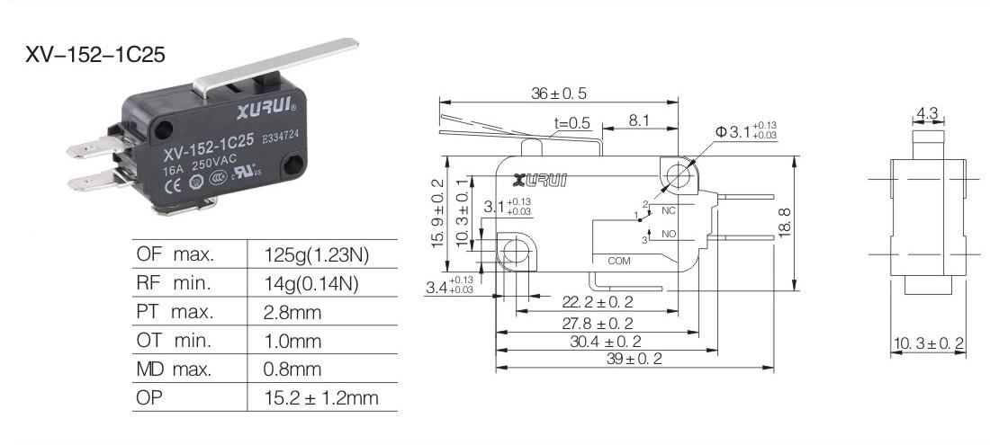 microswitch elettrico no nc 250v 16a microinterruttore a pulsante 50 gr con leva lunga