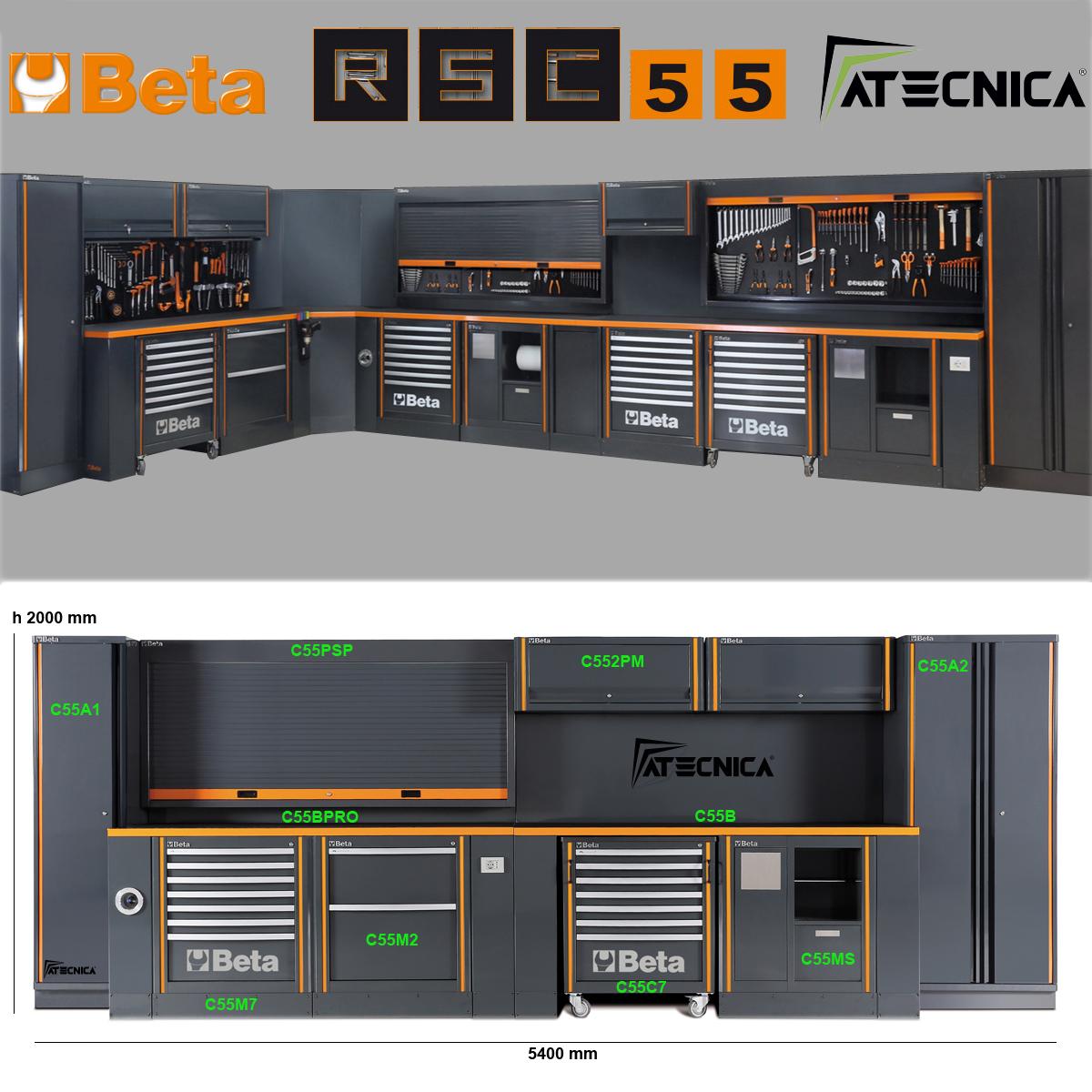 Cassettiera portautensili fissa 7 cassetti beta rs c55m7 for Arredamento per officina