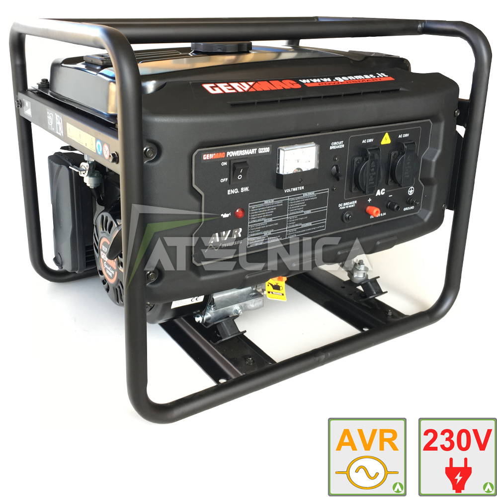 Gruppo elettrogeno 2 2 kw genmac g2200 generatore di for Generatore di corrente lidl
