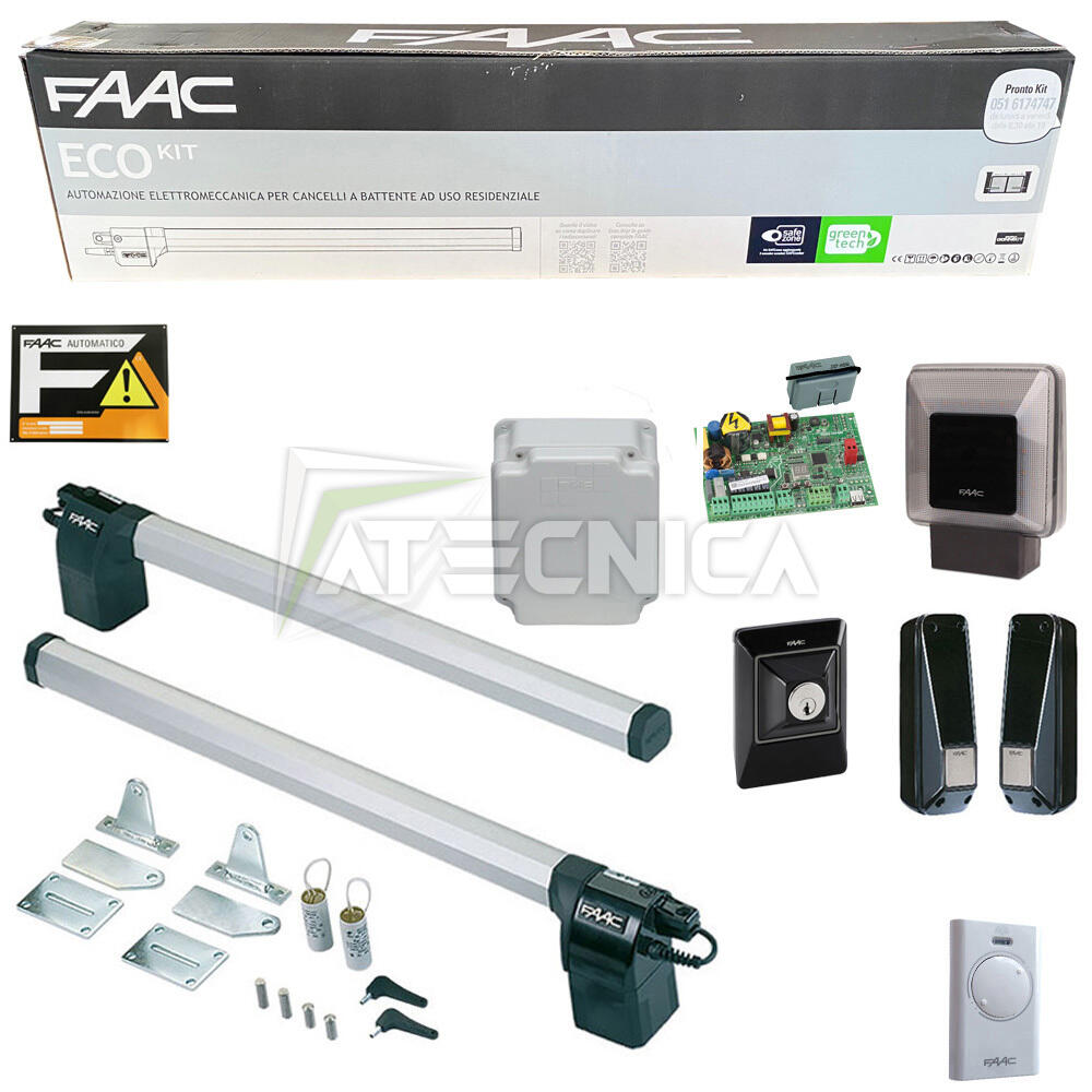 Kit automazione ante battenti faac eco kit 105632445 1 8mt for Faac eco kit