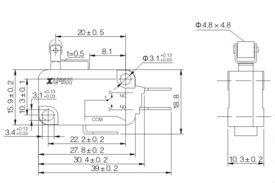 10pz microswitch elettrico no nc 250v 16a microinterruttore a pulsate 50 gr di forza con cuscinetto