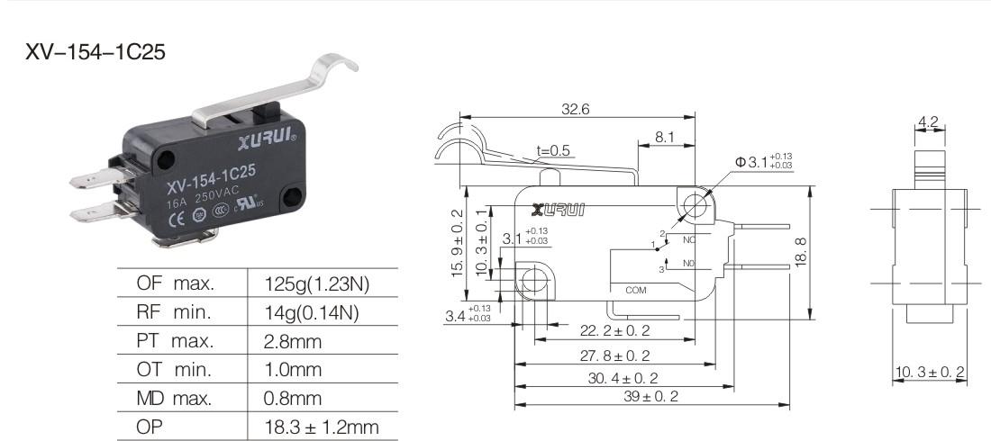 microswitch elettrico no nc 250v 16a microinterruttore a pulsate 50 gr leva curva