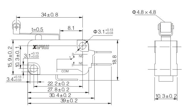 10pz microswitch no nc 250v 16a microinterruttore a pulsante 50 gr con leva lunga e cuscinetto