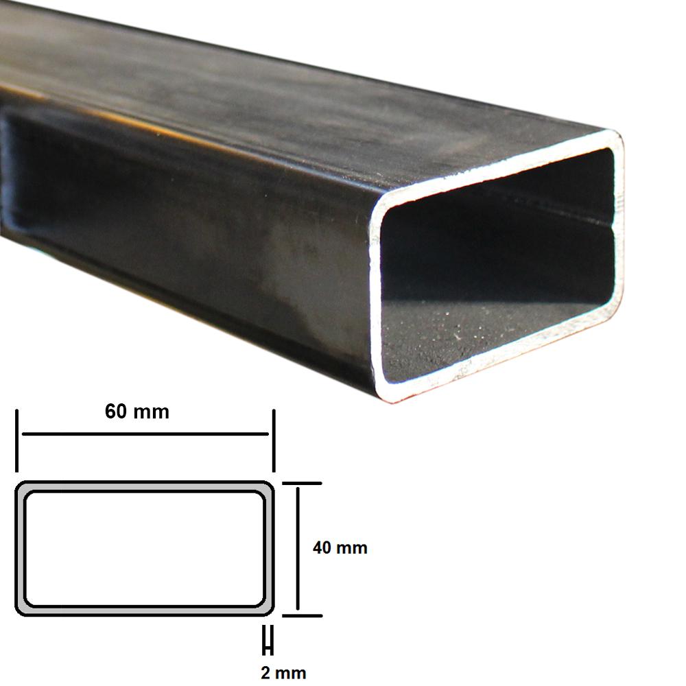 Tubolare in ferro a profilo rettangolare 40 x 40 x 2 mm grezzo stondato 1-2-3 mt